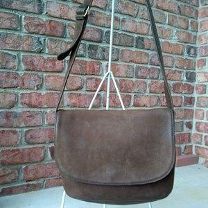 Vintage Coach Brown Leather Flap Crossbody Bag
